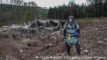 Взорванный склад боеприпасов в чешской деревне Врбетице