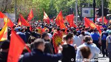 25.04.2021 Protest der mazedonischen Opposition in der Hauptstadt Skopje am Sonntag (25.04.2021)