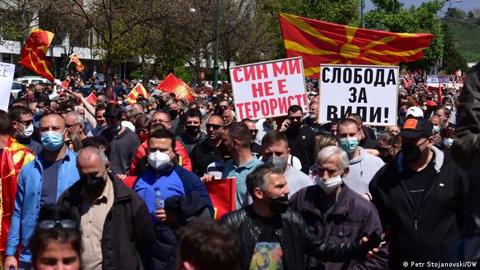 Nord-Mazedonien Skopje   Protest der Opposition