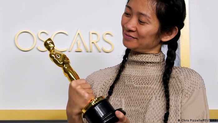 Chloe Zhao, winner of the award for best picture for Nomadland, poses in the press room at the Oscars in 2021