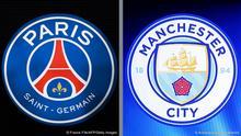 Bildkombo |Paris Saint-Germain und Manchester City