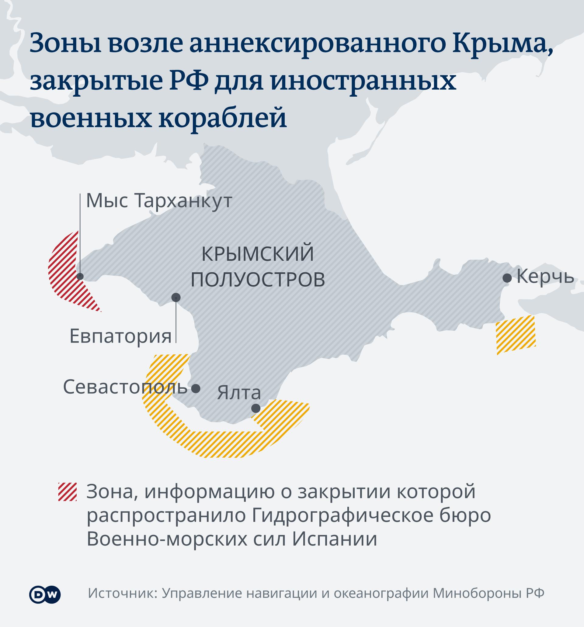 Зоны у побережья Крыма, закрытые для движения иностранных военных судов