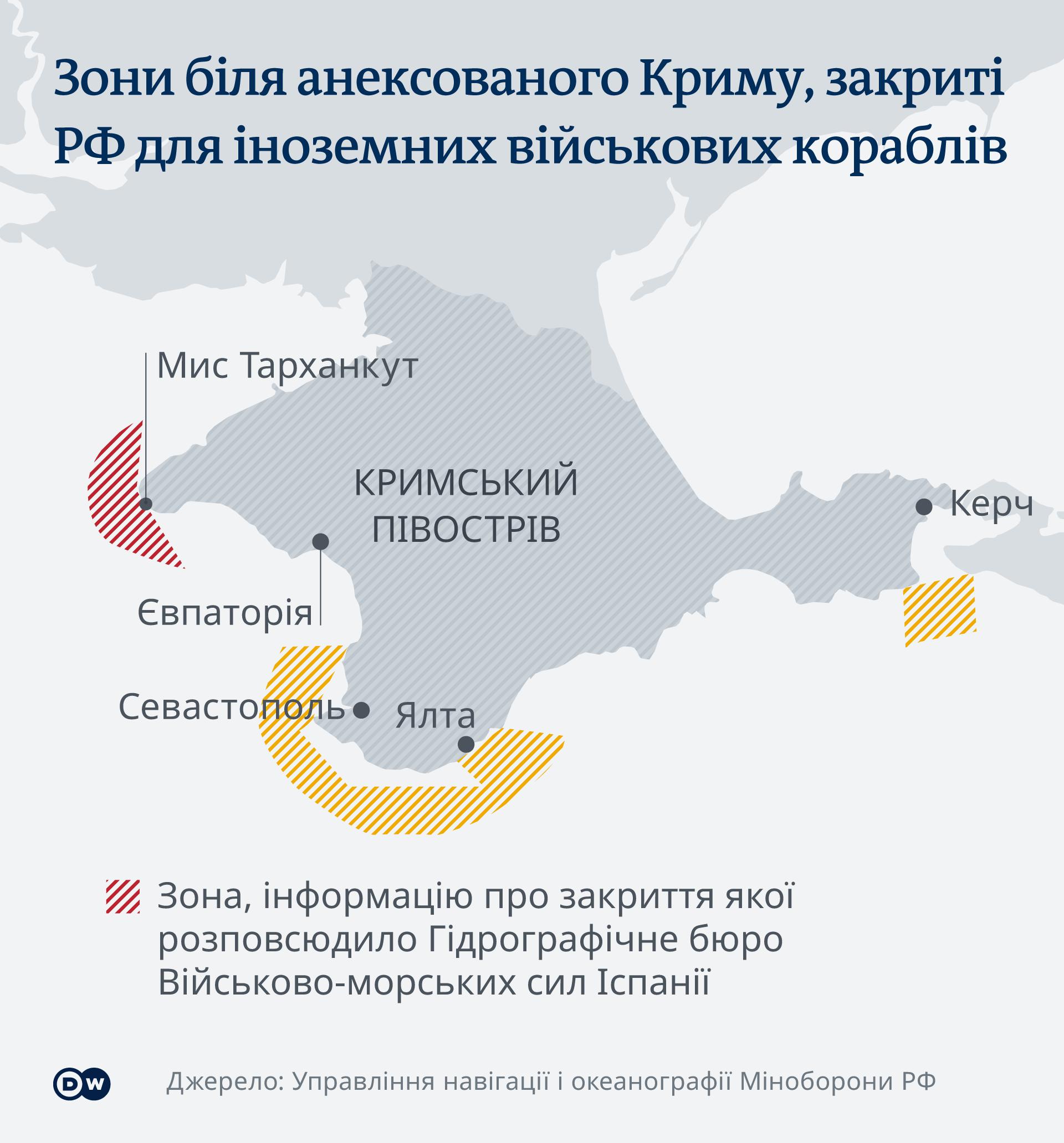 Infografik Karte Von Russland gesperrte Zonen in der Nähe der annektierten Krim UK