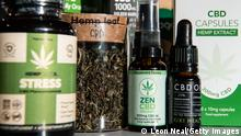 LONDON, ENGLAND - FEBRUARY 17: A jar of hemp leaves is seen among a range of CBD-based products in a branch of the retail chain Planet Organic on February 17, 2020 in London, England. The country's Food Standards Agency set a deadline of March 31, 2021 for makers of CBD products to submit food authorisation applications. The FSA also advised those who are pregnant, breastfeeding or taking any medication to not consume CBD products. (Photo by Leon Neal/Getty Images)