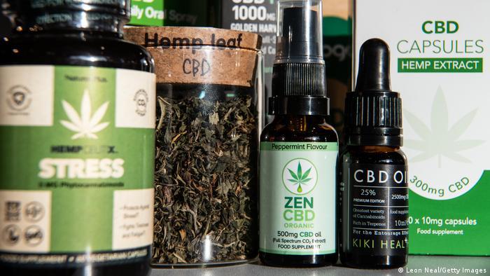 A range of CBD-based products on a shelf.