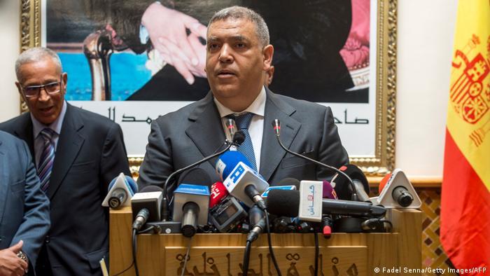 Moroccan Interior Minister Abdelouafi Laftit speaks at a press conference.