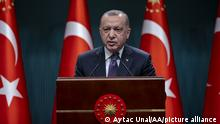 ANKARA, TURKEY - APRIL 26: Turkish President Recep Tayyip Erdogan makes a statement during a press conference following the cabinet meeting at the Presidential Complex in Ankara, Turkey on April 26, 2021. Aytac Unal / Anadolu Agency