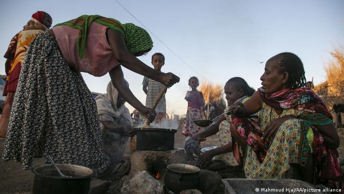 Migrantes etíopes en Sudán.
