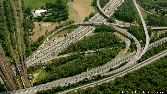 A intertwining network of motorways seen from the air