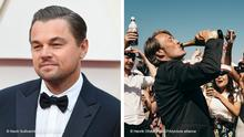 Two photos: Leonardo Di Caprio, left; film still showing Mads Mikkelsen from Another Round, right