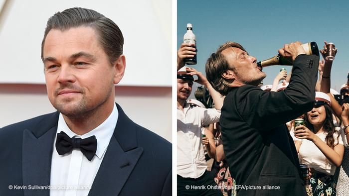 Two photos: Leonardo Di Caprio, left; film still with Mads Mikkelsen from Another Round, right