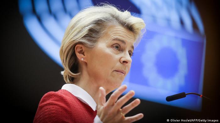 EU chief Ursula von der Leyen in the European Parliament