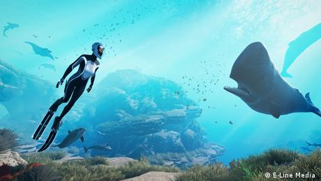 Video game, diver, whale, ocean, graphic