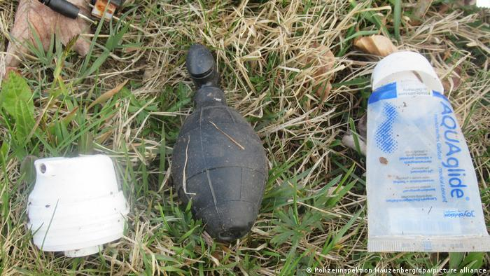Some of the objects in the bag, including the rubber grenade, found in Bavaria