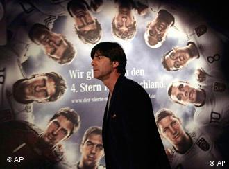 Germany coach Joachim Loew in front of a poster of his team