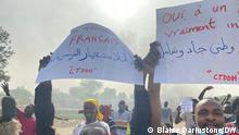Demonstrationen gegen die Einrichtung eines Übergangs-Militärrates im Tschad am 27. April 2021. Copyright: Blaise Dariustone / DW