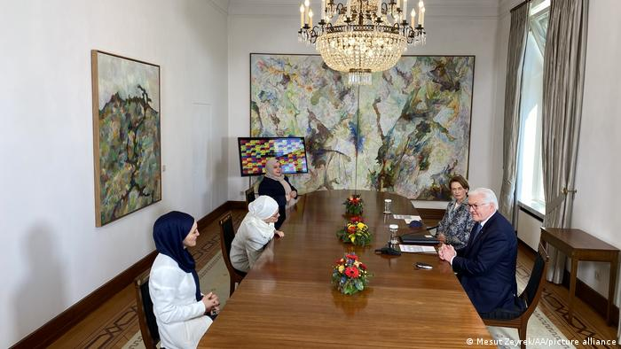 German President Frank-Walter Steinmeier meets representatives of the Muslim women's association Ayten Kilicarslan, Halide Ozkurt and Hatice Kocak in Berlin, Germany on April 27, 2021.