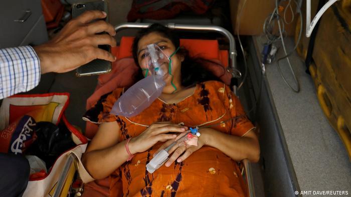 A woman receiving oxygen