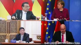 Li Keqiang, en haut à gauche, a appelé l'Allemagne à ne pas se mêler des droits de l'homme en Chine