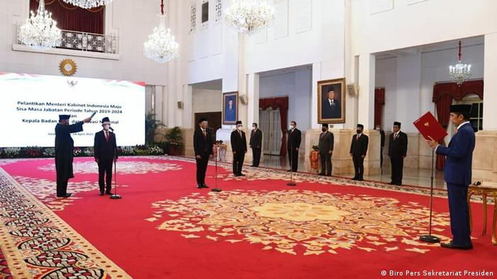 Pelantikan Bahlil Lahadalia dan Nadiem Makarim di Istana Negara, 28 April 2021