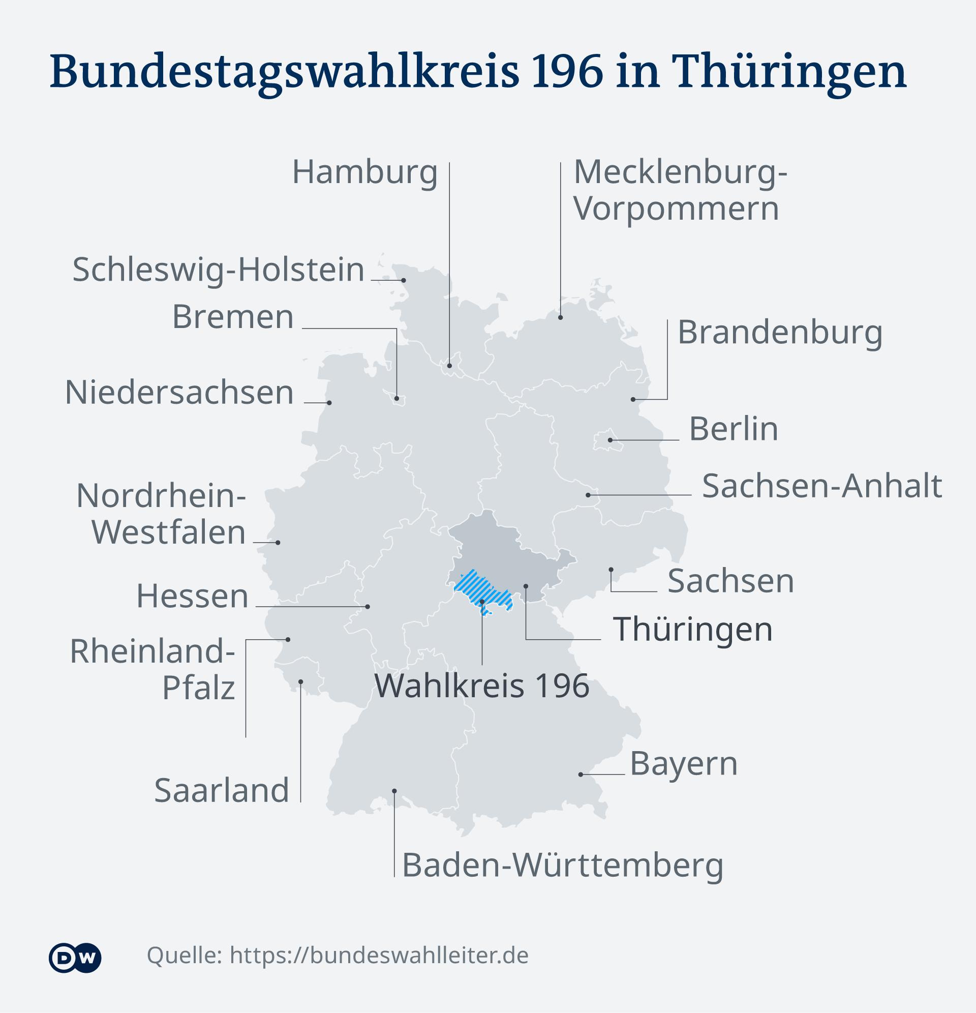 Infografik Karte Bundestagswahlkreis 196 in Thüringen DE