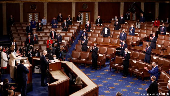 Başkan Biden'ın Capitol'deki konuşması sırasında pandemi kurallarına uyuldu