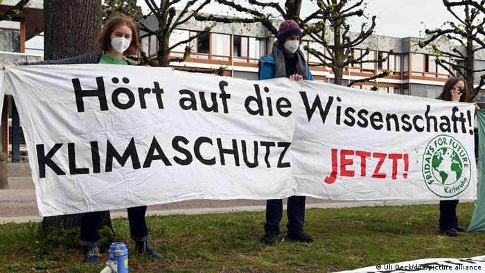 Fridays for Future protesters at Germany's constitutional court in Karlsruhe