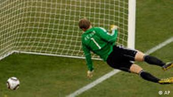 German goalkeeper Manuel Neuer watches the ball clearly behind his line