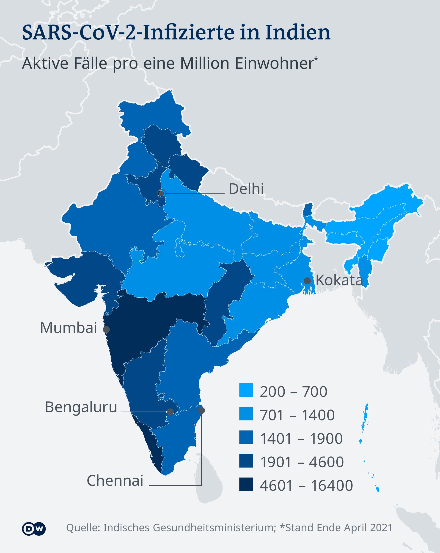 Infografik - SARS-CoV-2-Infizierte in Indien - DE