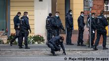 POTSDAM, GERMANY - APRIL 29: Police search near Oberlin care clinic after yesterday's attack on April 29, 2021 in Potsdam, Germany. Four people were found dead late Wednesday in a home for the disabled in Potsdam and police have arrested a 51-year-old home employee on suspicion of murder, police said. A fifth person with severe injuries was taken to hospital. The victims were residents of the Thusnelda-von-Saldern-Haus facility near the Oberlin hospital. (Photo by Maja Hitij/Getty Images)