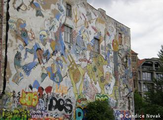 A wall in Berlin covered in graffiti