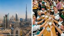 Kombobild | Oktoberfest und Dubai Panorama of Dubai MUNICH, GERMANY - SEPTEMBER 17: Visitors and members of the brass band Bischofswiesen hold up one-litre glasses of beer to kick off the 2016 Oktoberfest beer festival in the Paulaner tent at Theresienwiese on September 17, 2016 in Munich, Germany. The 2016 Oktoberfest is taking place under heightened security due to fears over international terrorism. The fest will be open to the public through October 3. (Photo by Joerg Koch/Getty Images)