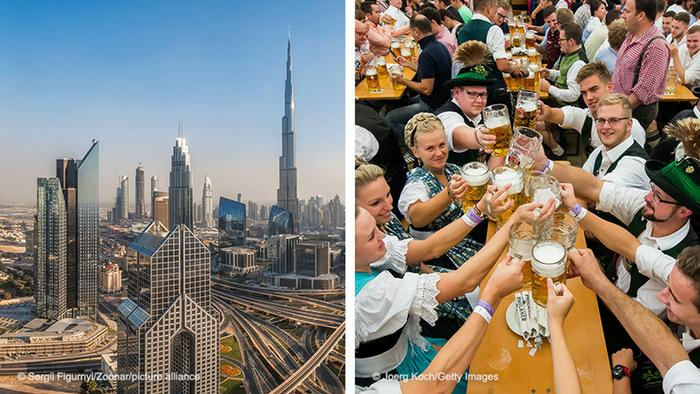 Two photos: A panorama of Dubai, and people celebrating at Oktoberfest in Munich