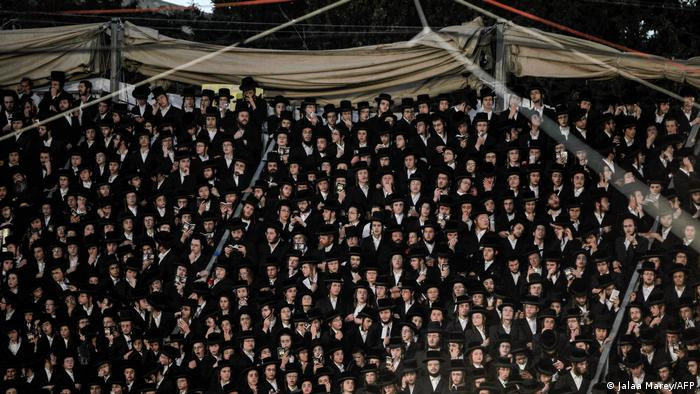 Crowds of mainly ultra-Orthodox Jews gather at Mount Meron for the festival of Lag B'Omer