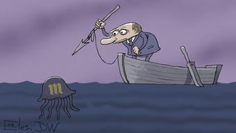 Карикатура Сергея Елкина о статусе СМИ-иноагента изданию Медуза