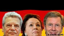Symbolbild Bundespräsidentenwahl Gauck, Jochimsen, Wulff Grafik: DW-Grafik Olof Pock