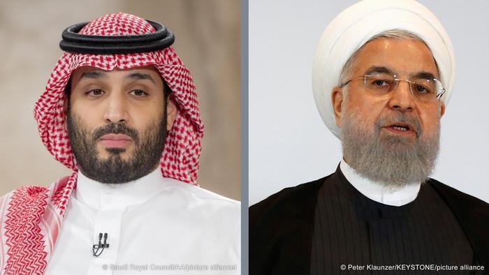 صورة مركبة للرئيس الإيراني حسن روحاني وولي العهد السعودي الأمير محمد بن سلمان