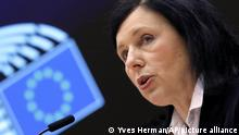 European Commissioner for Values and Transparency Vera Jourova addresses the plenary at the European Parliament in Brussels, Thursday, March 25, 2021. (Yves Herman, Pool via AP)