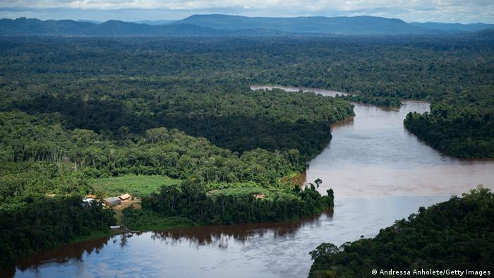 An aerial shot of the Amazon River and lush green rainforest