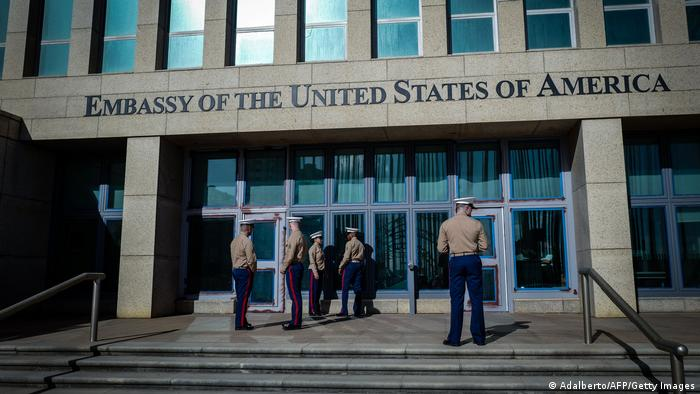 US Marines stand outside the Embassy of the United State of America in Havana, on February 21, 2018.