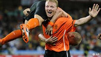The Dutch celebrate after a goal