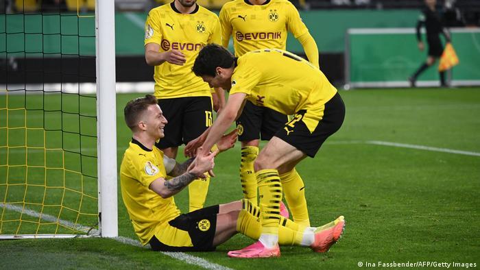 Marco Reus celebrates after scoring