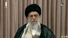 Screenshot der Fernsehrede von Ali Khamenei