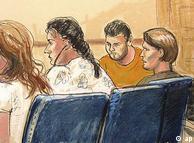 Zeichnung von vier Menschen im Gerichtssaal (Foto: ap)