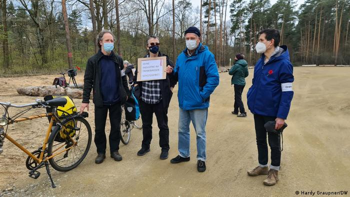 Anti-Tesla protesters near Grünheide, Germany