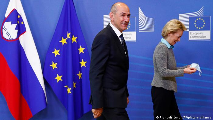 Belgien EU Slowenien Janez Jansa und Ursula von der Leyen Treffen