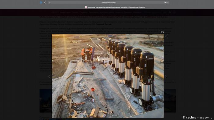 На фото от пресс-службы Технополиса - установка насосов в Крыму.
