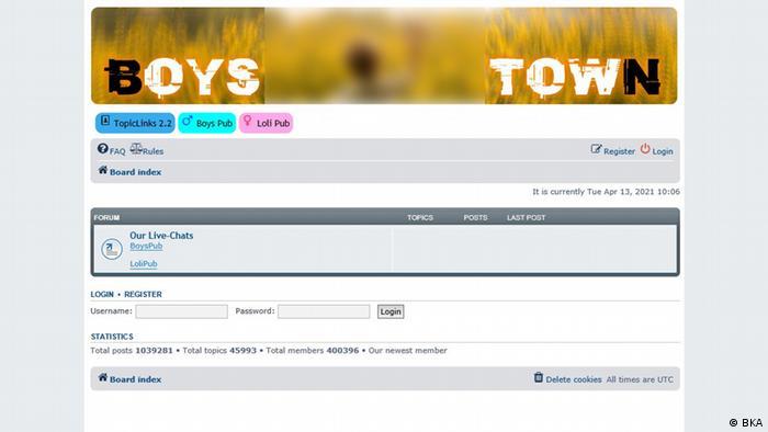 Darknet Internetseite Screenshot Boystown Kinderporno Kindesmissbrauch