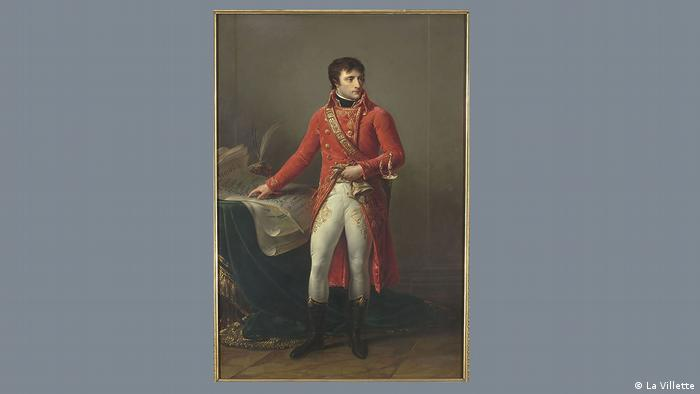 Napoleon as a young man in military uniform in a paiting from the late 1700s.