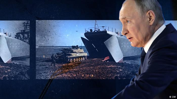 With Vladimir Putin in profile in foreground, screen shows Russian troop maneuvers